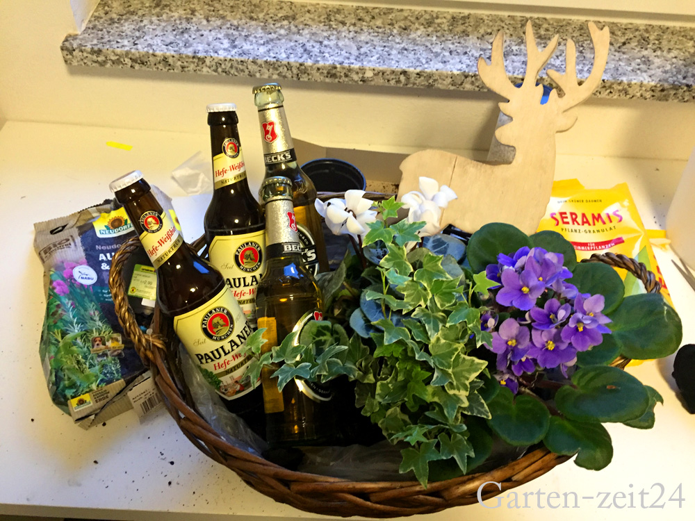 Biergarten basteln zusammengestellter Korb