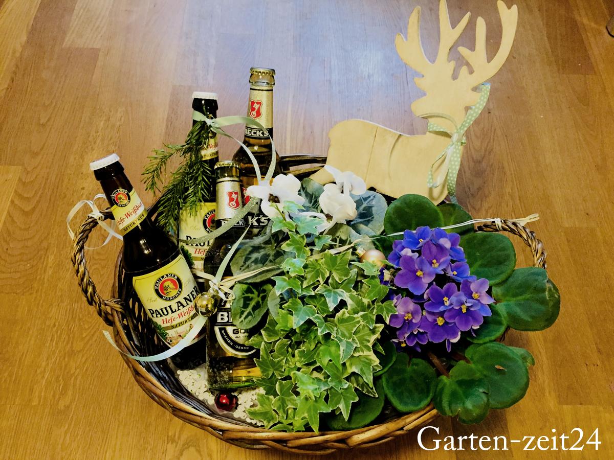 Biergarten basteln fertiggestellter Geschenkkorb